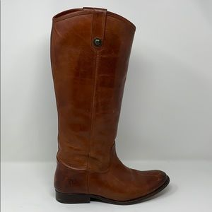 Frye Melissa button tall leather boots | brown